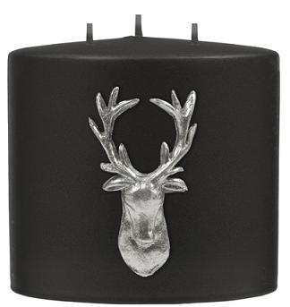 Kenneth Turner Stag Double-Headed 3 Wick Pillar Candle (Black)