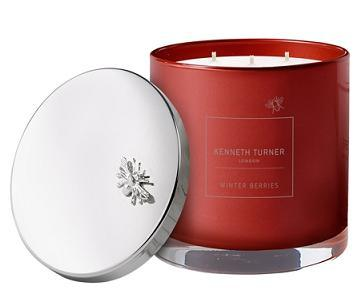 Kenneth Turner Winter Berries 3 Wick Candle in Glass