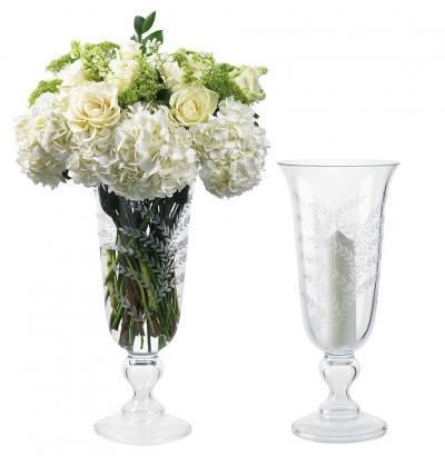 Kenneth Turner Etched Vase / Hurricane