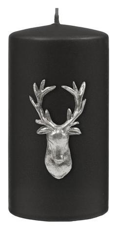 Kenneth Turner Stag Pillar Candle - Black