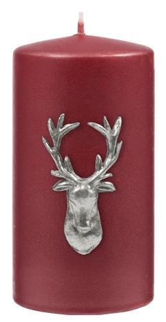 Kenneth Turner Stag Pillar Candle - Red