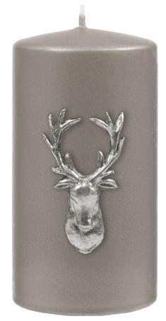 Kenneth Turner Stag Pillar Candle - Silver