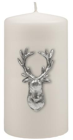 Kenneth Turner Stag Pillar Candle - White