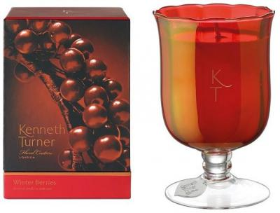 Kenneth Turner Candle in Stem Vase - Winter Berries